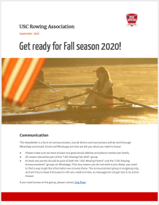 USC Rowing Fall 2020 Newsletter