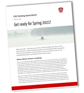 USC Rowing Winter 2021 Newsletter
