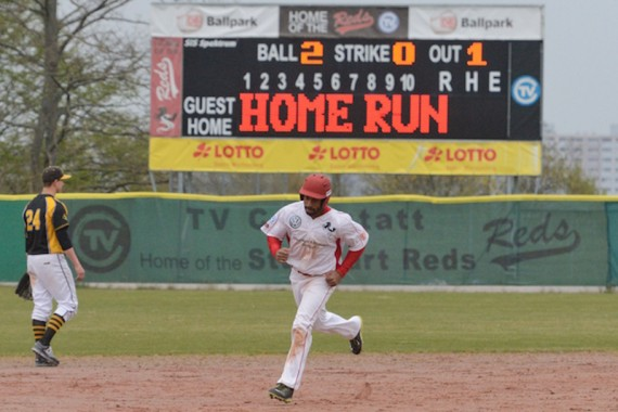 Gary Michael Owens hit two homeruns in game two on Saturday (Photo: Iris Drobny, drobny.photography)