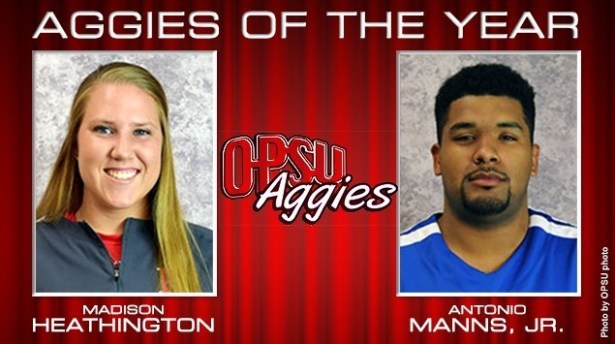 Madison Heathington (OPSU Softball) and Antonio Manns, Jr. (OPSU Men's Basketball) were named the 2015-2016 Aggies of the Year by the OPSU coaches and athletic administration.—OPSU photos