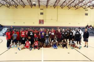 Group Photo of teams participating in Rashee Hodges Basketball Tournament.