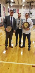Coaches with plaques after Men's Basketball Region X Tournament Win!