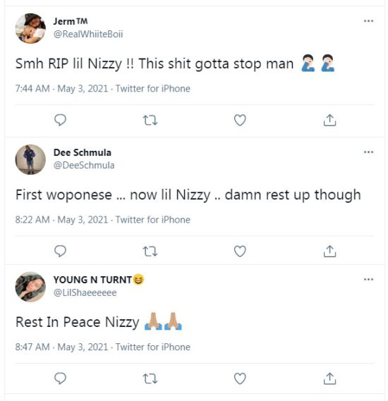 It is reported that young rapper Lil Nizzy died