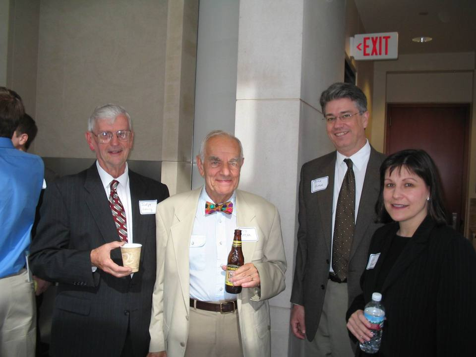 Judge Edward Leavy, former U. S. Attorney Sid Lezak, with attorneys Peter Glade and Lisa Kaner