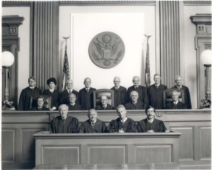 Oregon Magistrate Judges (front), Ninth Circuit Judges (middle) and District Court Judges (standing), 1992.