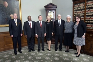 Justices Anthony Kennedy, Clarence Thomas, Chief Justice John Roberts, Julie Chrystyn Opperman, Judge Edward Leavy, Eileen Leavy, and Justice Sonia Sotomayor