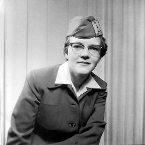 Jewel Beck in winter uniform, November 1954