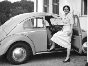 Jewel Beck and her Volkswagen Bug.
