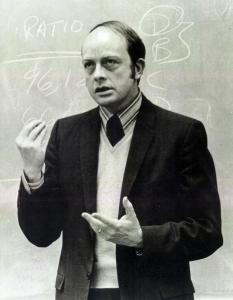 Professor Lansing teaching a class in 1967.