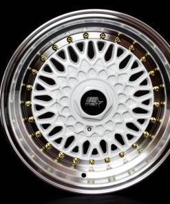 MST wheels MT13 White Machined Lip Gold Rivets