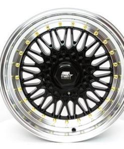 MST wheels MT13 Black Machined Lip Gold Rivets