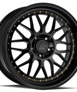 AH02 AH02 18X8.5 5X120 Gloss Black Gold Rivets