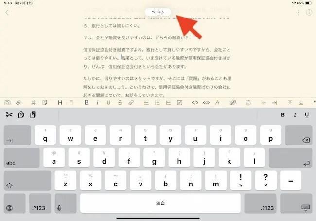 iPad・ジェスチャ ペースト