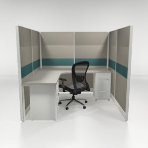 "6X6 67"" Tiled Cubicles with One File"