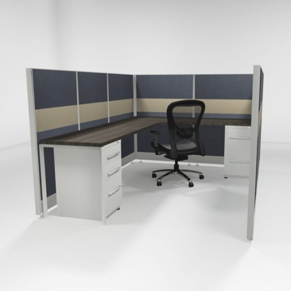 """6x8 53"""" Tiled Cubicles with Two Files"""