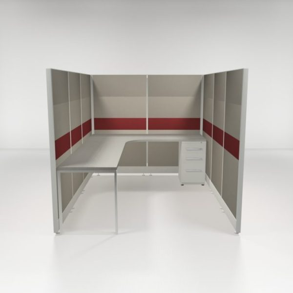 """6x8 67"""" Tiled Cubicles with One File"""