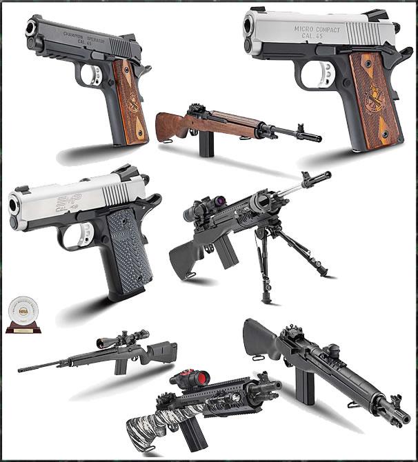 Springfield 1911s pistols and M1A rifles SOCOM