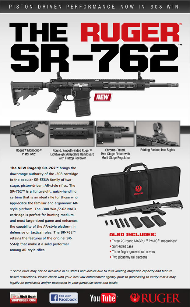 The Ruger® SR-762™ is a lightweight, quick-handling carbine that is an ideal rifle for those who appreciate the familiar and ergonomic AR-style platform. The .308 Win./7.62 NATO cartridge is perfect for hunting medium and most large-sized game and enhances the capability of the AR-style platform in defensive or tactical roles. The SR-762™ retains the features of the original SR-556® that make it a solid performer among AR-style rifles. CHROME-PLATED, TWO-STAGE PISTON  Ruger® patented chrome-plated, two-stage piston with multi-stage regulator provides a cleaner, cooler running, reliable firearm with superior operating endurance. The two-stage piston provides a smooth power delivery stroke to the bolt carrier.  Six-position telescoping M4-style buttstock is mounted on a Mil-Spec diameter tube. ALSO INCLUDES:  Three 20-round MAGPUL® PMAG® magazines; soft-sided case; three finger-grooved rail covers.