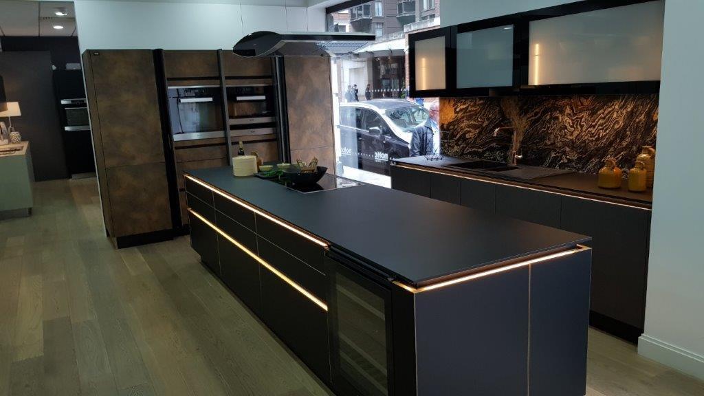 Nolte Matrix Art Black Kitchen Corten Steel Tall Units