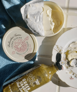 creme fraiche and Green Dragon Hot Sauce