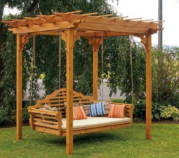 10.build a pergola swing bed for supreme relaxation - 25 Beautifully Inspiring DIY Backyard Pergola Designs For Outdoor