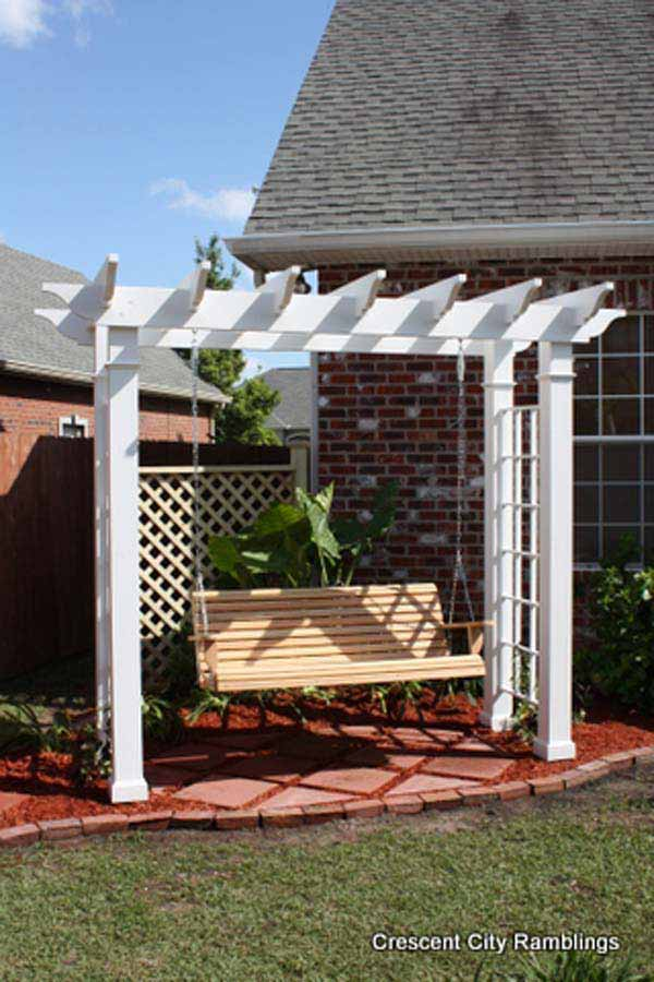 22.white pergola swing set with vintage charm - 25 Beautifully Inspiring DIY Backyard Pergola Designs For Outdoor