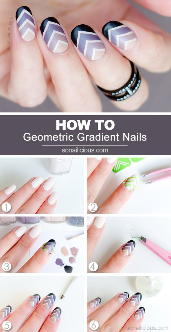 111 nail art tutorials learn how to do the simple ones to 55 gradient chevron nails solutioingenieria Image collections