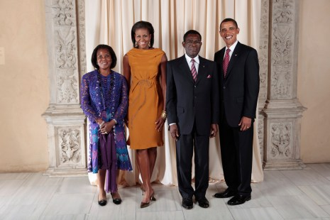 President Barack Obama and First Lady Michelle Obama pose for a photo during a reception at the Metropolitan Museum in New York with, H.E. Teodoro Obiang Nguema Mbasogo President of the Republic of Equatorial Guinea and his wife, Mrs. Constancia Mangue de Obiang, Wednesday, Sept. 23, 2009. (Official White House Photo by Lawrence Jackson) This official White House photograph is being made available only for publication by news organizations and/or for personal use printing by the subject(s) of the photograph. The photograph may not be manipulated in any way and may not be used in commercial or political materials, advertisements, emails, products, or promotions that in any way suggests approval or endorsement of the President, the First Family, or the White House.