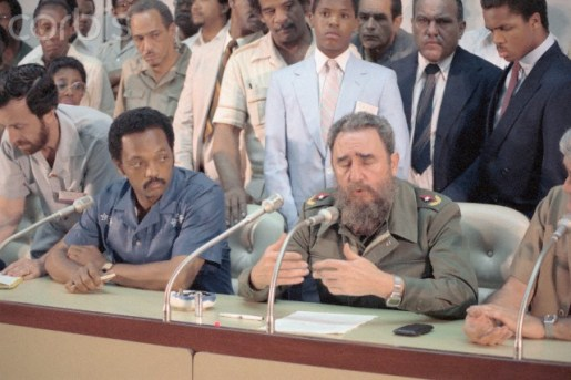27 Aug 1984, Havana, Cuba --- Original caption: Reverend Jesse Jackson (L) is seated next to Cuban Prime Minister Fidel Castro during negotiations for the release of a group of prisoners to Jackson. --- Image by © Bettmann/CORBIS