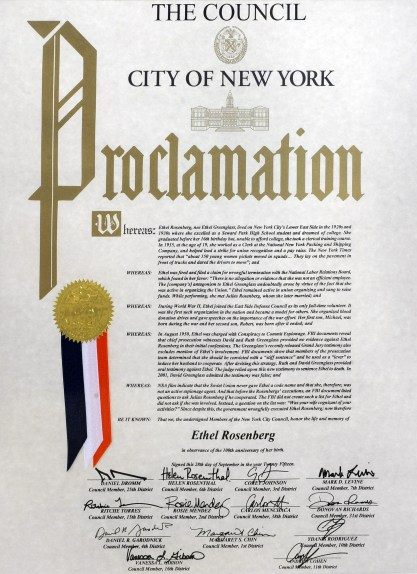 9/28/15 Robert Meeropol and his brohter, Michael Meeropol, received a proclamation (pictured) from City Council member Daniel Dromm today. The proclamation recognized the contributions to the labor movement of Ethel Rosenberg, the mother of Robert and Michael. She was convicted of espionage along with her husband Julius in 1953 and was sentenced to death. Today would have marked her 100th birthday. On the steps of City Hall, NY, NY . Please credit Gregory P. Mango.
