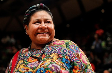Nobel Peace Prize winner Rigoberta Menchu attends a meeting of indigenous communities in Caracas February 21, 2013. REUTERS/Carlos Garcia Rawlins (VENEZUELA - Tags: POLITICS SOCIETY)