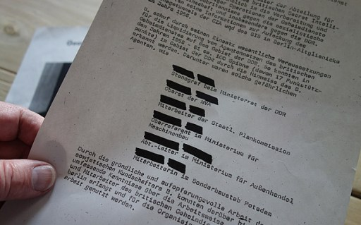 A list of six ìdangerous agentsî of British intelligence in a file kept by the Stasi, the feared East German secret police. Credit: George Carey *** MUST CREDIT *** ONE TIME USE ONLY ***