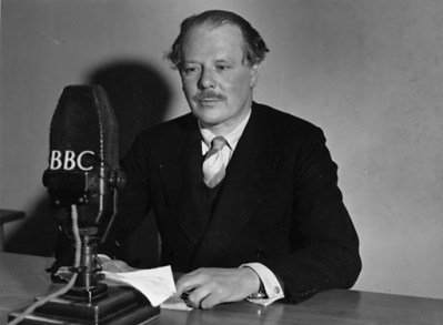 Circa 1940: Sir Harold Nicolson, (1886-1968), English diplomat, author and critic sitting before a BBC microphone in a radio studio. (Photo by Keystone/Getty Images)