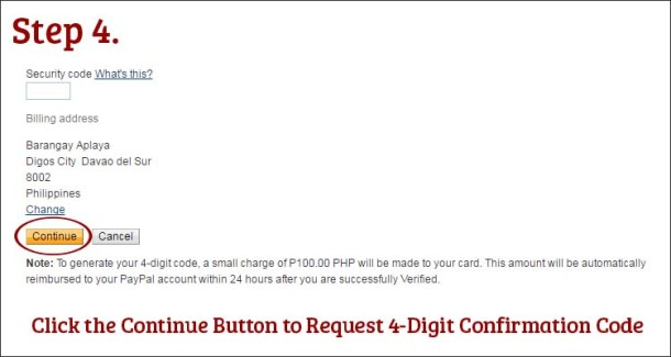 Step 4 Click Continue Button and Request 4-Digit Code