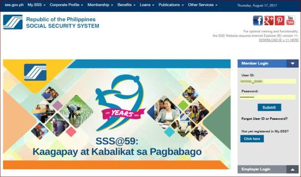 Step 1 SSS Website Member Login