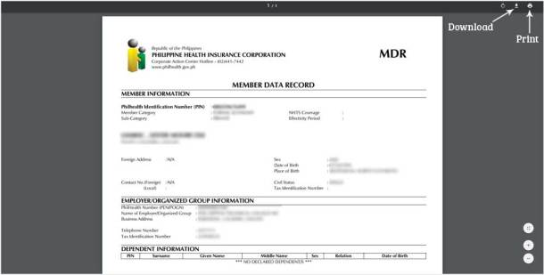 Step 3 Download or Print PhilHealth MDR Document