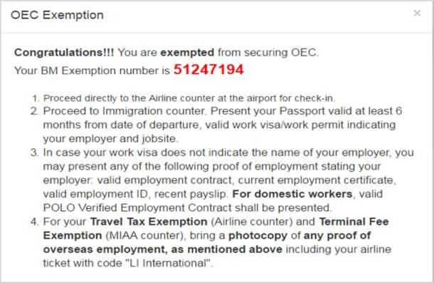 OEC Exemption Sample