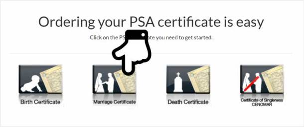 Step 2. Select PSA Marriage Certificate Option