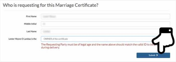 Step 6. Person Requesting for PSA Marriage Certificate