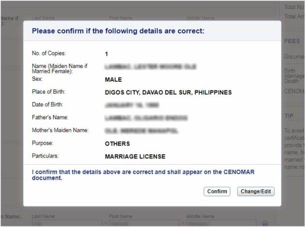 Step 7. CENOMAR Information Confirmation