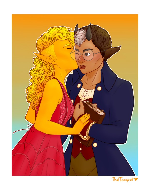 Share, a small elf, kisses Buttermilk, a satyr, on the cheek