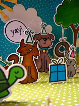 Lawn Fawn Critters in the Burbs Birthday Card - Pop up Stage card Critter Birthday detail 3