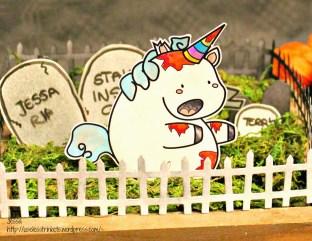 Useless Trinkets Cookie Jar the Zombiecorn - undead unicorn Halloween centerpiece Freebie by Jessa Feig detail