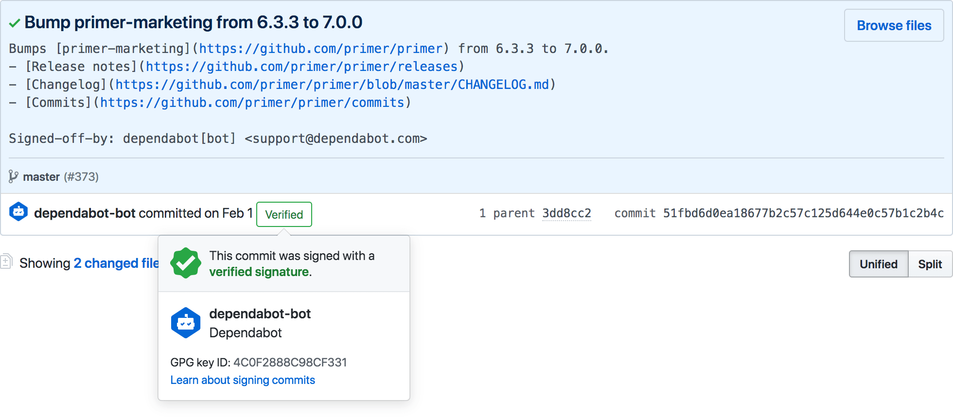 The image Badge showing a bot-signed commit for an open source project.