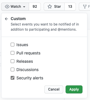 Watching control with new security alerts setting