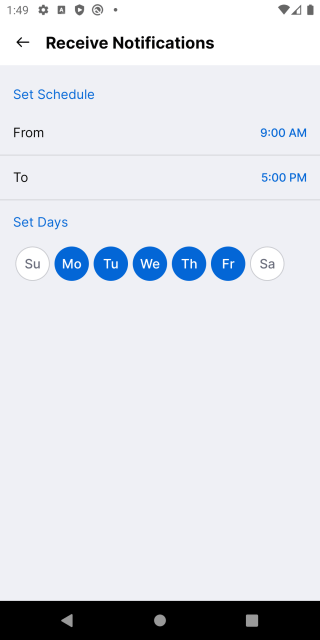 Screenshot of push notification schedule settings for GitHub for Android