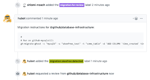 "Once the user labels the Pull Request as ""migration:for:review"", skeefree analyzes the migration and evaluates where it needs to run. It proceeds to seek review from an authority."