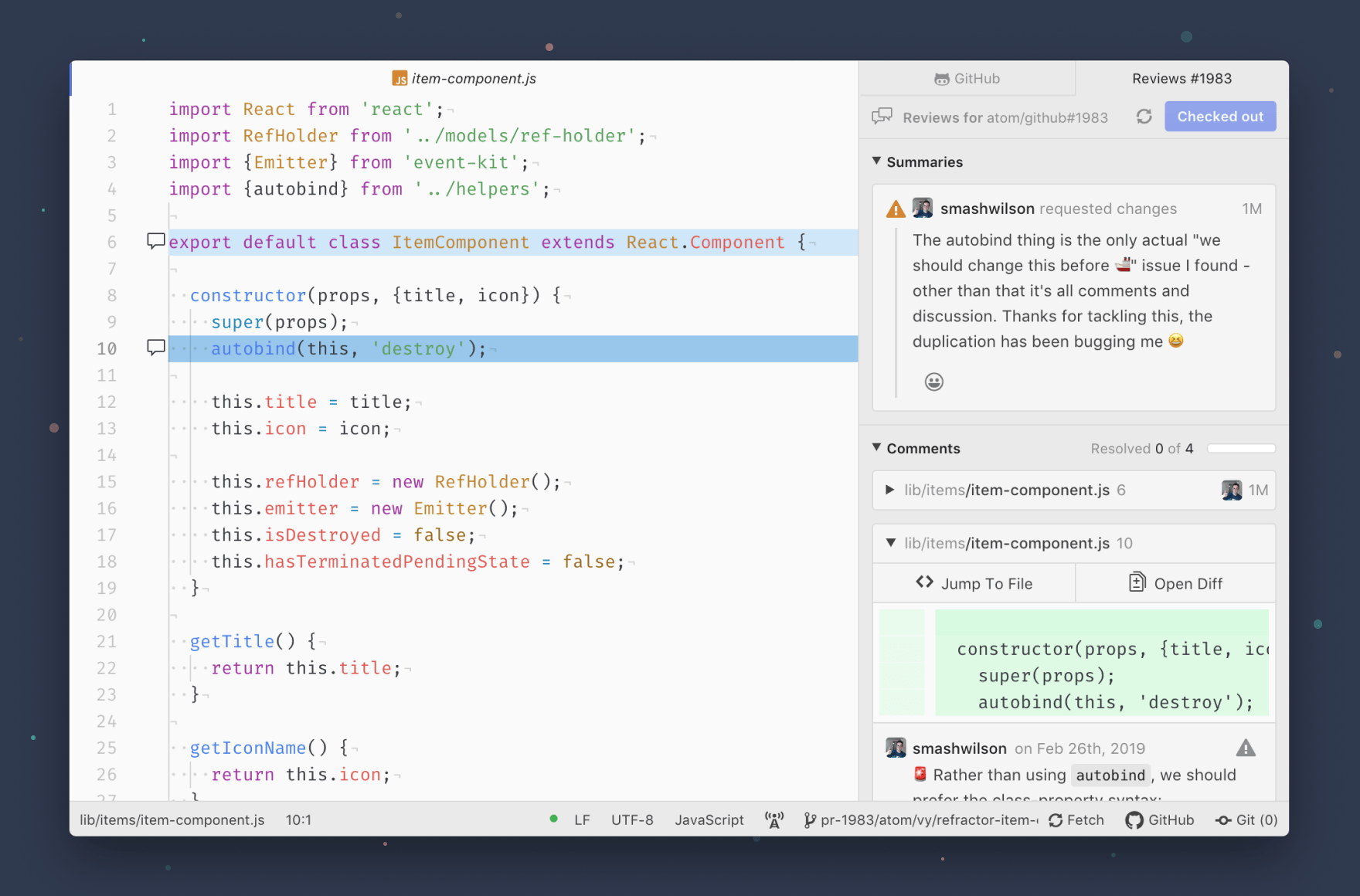 image of dock on the right side of Atom's text editor