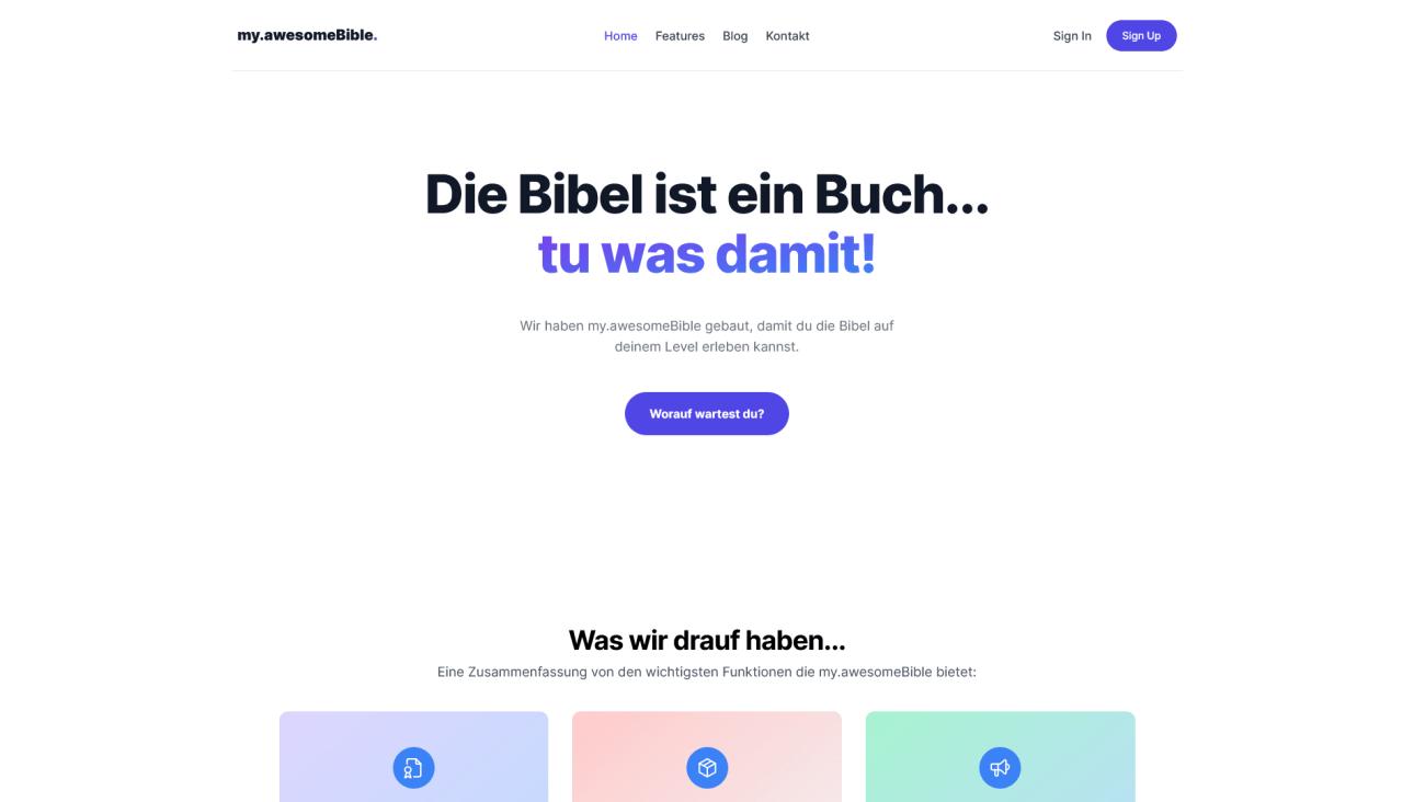 Die my.awesomeBible Startseite
