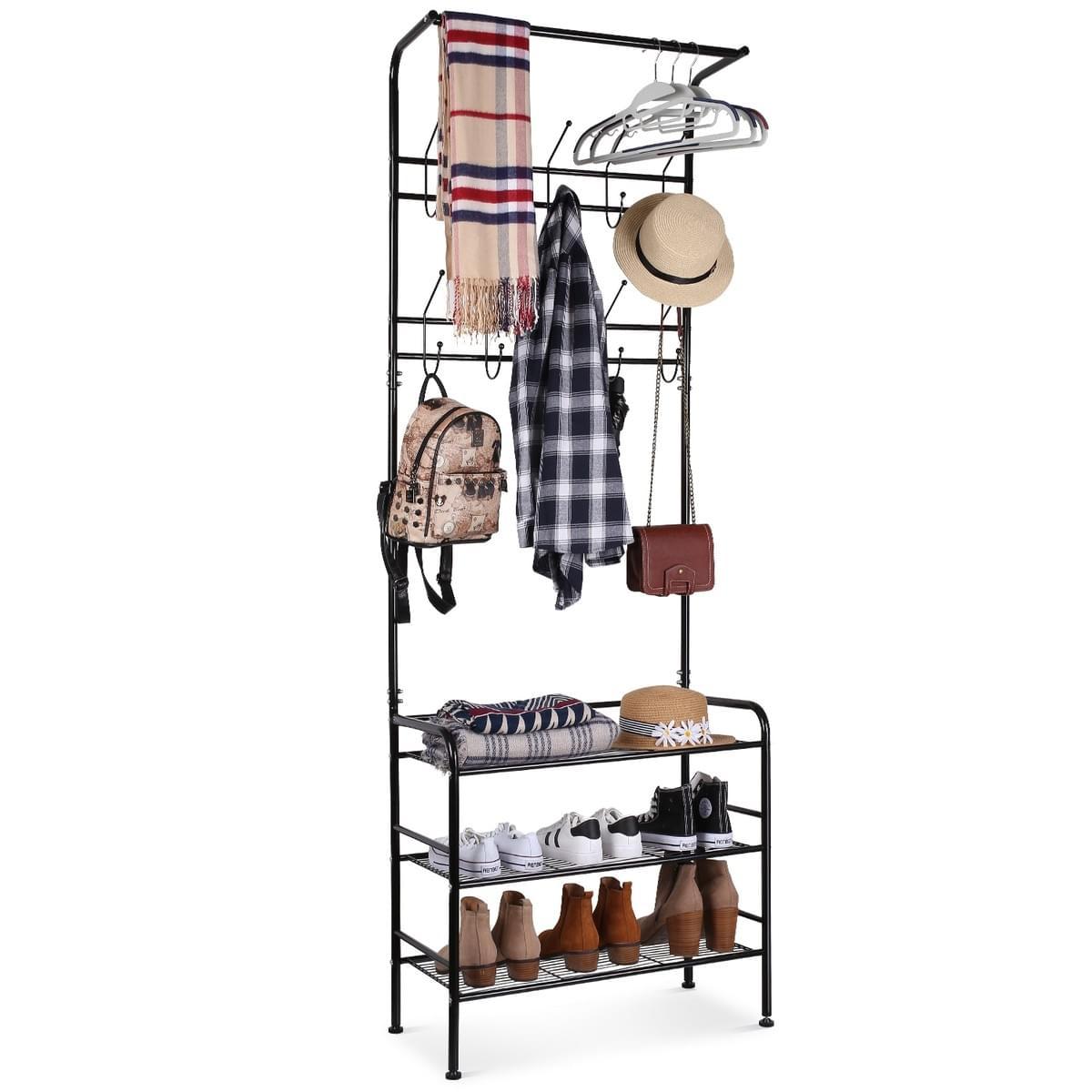 Homfa Metal Entryway Coat Shoe Rack 3 Tier Shoe Bench With Coat Hat Umbrella Rack 20 Hooks Black